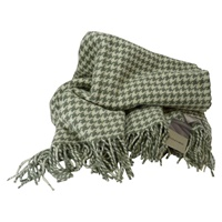 Image for Foxford Pale Green and Antique White Houndstooth IrishThrow