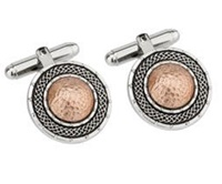 Image for Rhodium and Rose Gold Plate Round Dome Cuff Link
