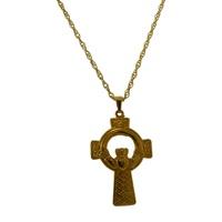 Image for Gold Irish Claddagh Celtic Cross Pendant