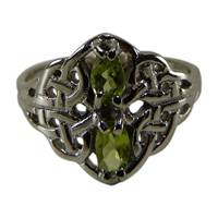 Image for 14 K White Gold Celtic Lace Ring With Gemstones