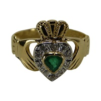 Image for Facet 14kt Yellow Gold Diamond and Emerald Claddagh Ring