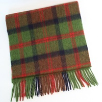 Image for Lambswool Scarf - Green, Navy, Red And Brown