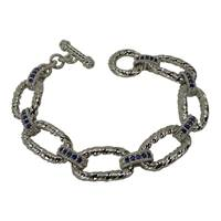 Image for Fado Aran Silver Rope Link Bracelet with CZ Saphaire