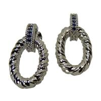 Image for Fado Silver Rope Link Earrings with CZ Saphaire