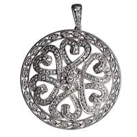 "Image for Fado Large Heart CZ Round Pendant on 29"" Stoneset Chain"