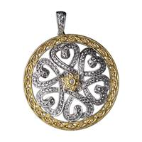 "Image for Fado Large Heart Two Tone Silver CZ Round Pendant on 26"" Stoneset Chain"