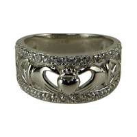 Image for Fado Claddagh Trinity Silver CZ Stone Set Ring