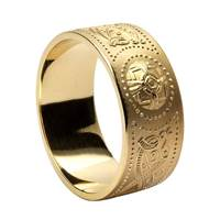 10K Yellow Gold Gents Warrior Shield Ring