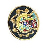 Image for Round Celtic Animal Brooch, Black