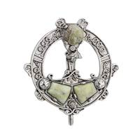 Image for Rhodium Plated Connemara Marble Tara Brooch