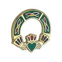 Image for Solvar Gold Plated Claddagh Brooch, Green