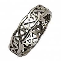Image for Mens 14K White Gold Sheelin Narrow Pierced Celtic Wedding Band