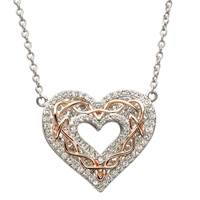 Image for Shanore Celtic Heart With Rose Gold Knot Work Encrusted With Swarovski Crystal