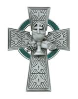 Image for Celtic Communion Cross Pewter and Green Enamel
