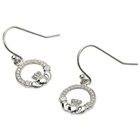 Image for Sterling Silver Stone Set Claddagh Earrings