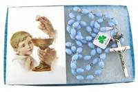 Image for First Communion Blue Irish Rosary, Boxed