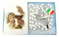 Image for First Communion Rosary White Faceted Beads