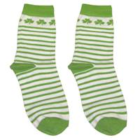 Image for Stripe Shamrock Baby Socks, White/Green