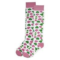 Image for Girl Shamrock Knee Socks, White/Pink