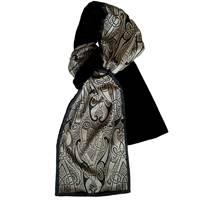 Image for Patrick Francis Bk Motif Velour Scarf, Black/Silver