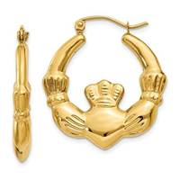 Image for 14K Polished Claddagh Hoop Earrings 2.60 grams
