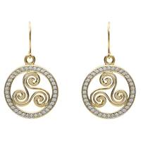 Image for Shanore Gold CZ Celtic Triscal Earrings