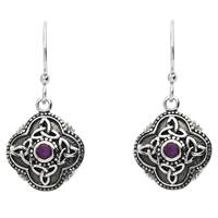 Image for Sterling Silver Amythest Celtic Drop Earrings