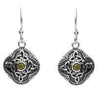 Image for Sterling Silver Peridot Celtic Drop Earrings