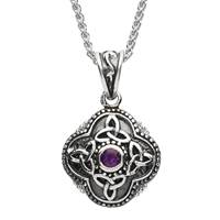 "Image for Sterling Silver Large Amythest Celtic Pendant with 20"" Spiga Chain"