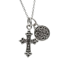 Image for Sterling Silver Two Piece Celtic Cross and Trinity Pendant