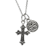 Image for Sterling Silver Cross and Celtic Charm Double Necklace