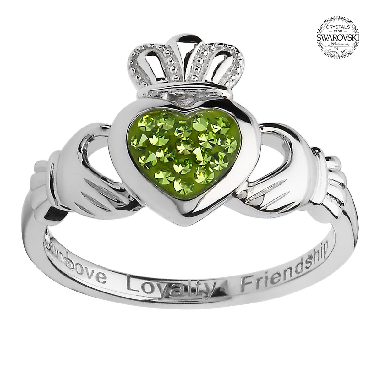 Sterling Silver Peridot Claddagh Ring