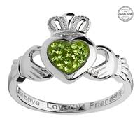 Image for Sterling Silver Peridot Swarovski Green Pave Claddagh Ring