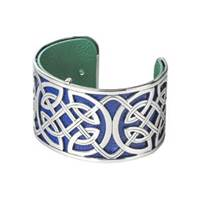Image for Solvar Rhodium and Leather Wide Celtic Bangle