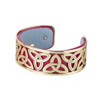 Image for Solvar Gold Plated and Leather Narrow Trinity Bangle