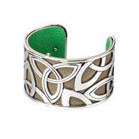 Image for Solvar Rhodium and Leather Wide Trinity Bangle