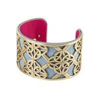 Image for Solvar Gold Plated and Leather Wide Four Trinity Bangle