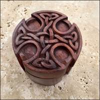 Image for Blue Frogs Handcarved Wooden Round Cross Puzzle Box