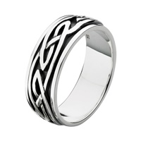 Image for Heritage Sterling Silver Celtic 7mm Band Ring with Spinning Middle