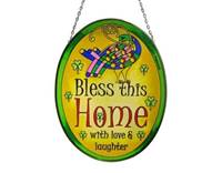 Image for Stained Glass Bless This Home 20 cm Oval Panel