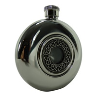 Image for Irish Whiskey Flask with Glass Center, Trinity Circle