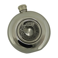 Image for Irish Whiskey Flask with Glass Center, Celtic Dog