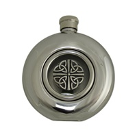 Image for Irish Whiskey Flask with Glass Center, Trinity Knot