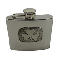 Image for Celtic Stainless Steel and Pewter Flask, Shamrock