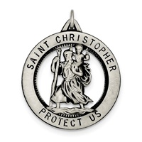 Image for Sterling Silver Saint Christopher Pendant- Open Round