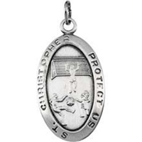 Image for Saint Christopher Sterling Silver Oval Pendant Soccer