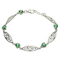 Image for Sterling Silver Trinity Green CZ Heart Stone Set Bracelet