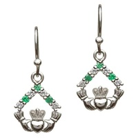 Image for Sterling Silver Claddagh CZ Stone Set Earrings