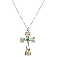 Image for Sterling Silver Celtic Trinity Knot Cross with Diamonds and an Emerald