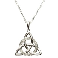 Image for Celtic Trinity Knot Diamond Set Necklace